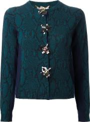Snakeskin Print Embellished Cardigan Women Wool 40, Green