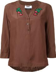 Strawberry Patches Blouse Women Polyester 38, Women's, Brown