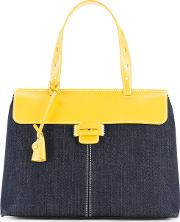 Two Tone Lord Tote Bag Women Cotton One Size, Blue