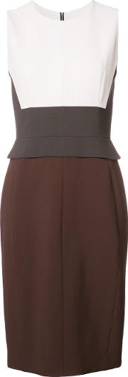 Colour Block Detail Fitted Dress Women Spandexelastaneviscose 40, Brown