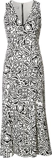 Floral Print Shift Dress Women Silkspandexelastane 40, White
