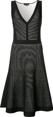 Pleated Trim Flared Dress Women Polyesterviscose 40, Women's, Black