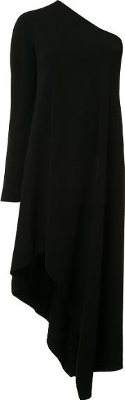 Single Shoulder Asymmetric Dress Women Silkspandexelastaneviscose 40, Black