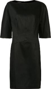 Three Quarters Sleeve Dress Women Silkcotton 44, Women's, Black