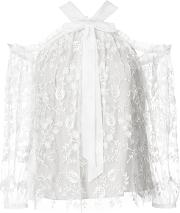 Embroidered Lace Blouse Women Nylonpolyester 4, White