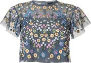 Floral Embroidered Blouse Women Polyester 4, Blue