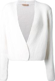 Cable Knit Cropped Cardigan Women Merino L, White