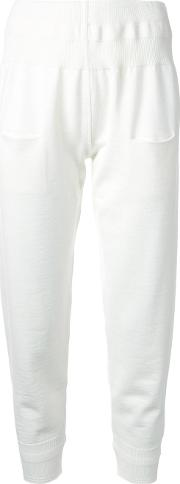 Rib Detail Tapered Trousers Women Virgin Wool L, White