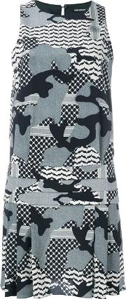 Camouflage Print Dress Women Silkspandexelastanecupro 44, Black