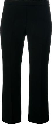 Flared Cropped Trousers Women Cottonpolyesteracetate 42, Black