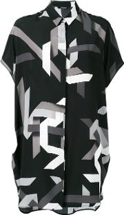 Geometric Print Shirt Dress Women Silk M, Women's, Black