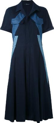 Panelled Denim Dress Women Cotton 42, Blue