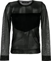 Sheer Blouse With Geometric Panel