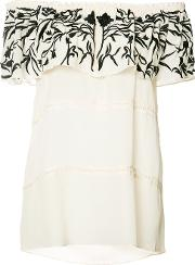 Embroidered Off Shoulder Blouse Women Silk Xs, Women's, White