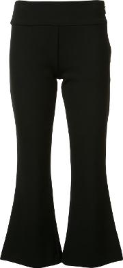 Flared Cropped Trousers Women Cottonpolyesterspandexelastaneviscose 4, Black