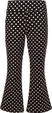 Metallic Polka Dots Trousers Women Nylonpolyestermetallic Fibre 2, Women's, Black