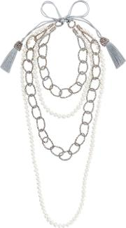 Faux Pearl And Bead Layered Necklace