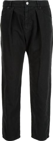 Cropped Pleated Trousers Women Cottonlinenflax 4, Women's, Black