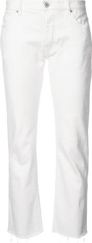 Frayed Hem Cropped Jeans Women Cottonpolyurethane 24, White