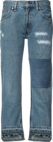 Patch And Frayed Jeans Women Cotton 27, Women's, Blue