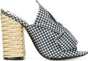 Checked Bow Mules