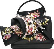 Floral Embroidery Shoulder Bag Women Silkleather One Size, Black