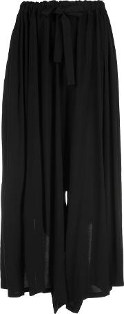 Loose Fit Trousers Women Rayon S, Black