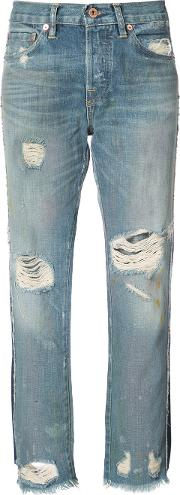 Nsf Distressed Cropped Jeans Women Cotton 28, Blue