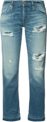 Ripped Cropped Jeans Women Cottonrayon 27, Blue