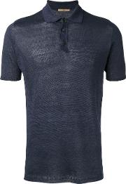 Knitted Polo Shirt Men Linenflax 54, Blue