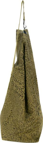 Oversized Shoulder Bag Men Cotton One Size, Green