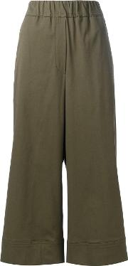Cropped Trousers Women Cottonspandexelastanelyocell 34, Green