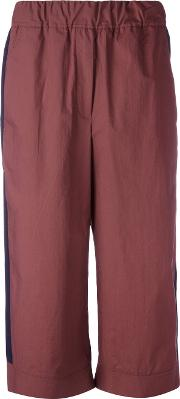 Flared Cropped Trousers Women Cotton 34, Red