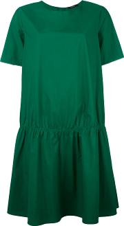 Gathered T Shirt Dress Women Cotton 40, Green