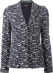 Knitted Fitted Jacket Women Cottonviscosepolyester 36, Blue