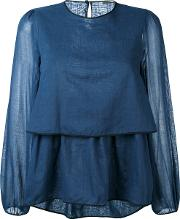 Layered Blouse Women Cotton 40, Blue