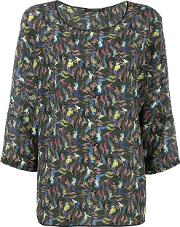Mermaid Print Blouse Women Silk 40