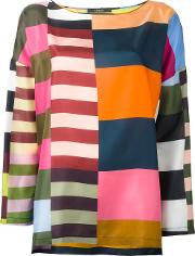 Multi Stripes Blouse Women Silk 40