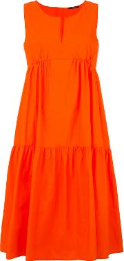 Ruffled Flared Dress Women Cotton 34, Yelloworange