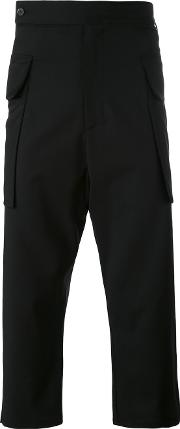 Drop Crotch Cropped Trousers Unisex Spandexelastanewool M, Black