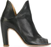 Open Toe Notched Detail Ankle Boots