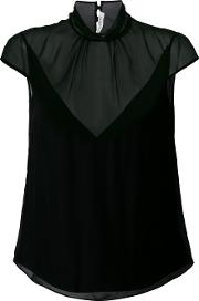 Olivier Theyskens Draped Neck Semi Sheer Blouse Women Silk 38, Black