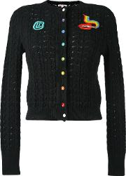 Olympia Le Tan Beaded Cable Knit Cardigan Women Cotton M, Black