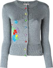 Olympia Le Tan Beaded Paint Splatter Cardigan Women Silkpvc S, Women's, Grey
