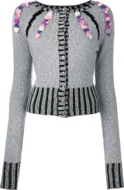 Olympia Le Tan Cashmere Rebecca Embroidered Cardigan Women Cashmere S, Grey