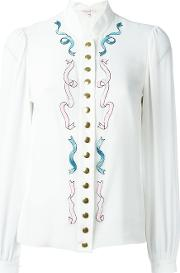 Olympia Le Tan Embellished Blouse Women Silk 40, Women's, White