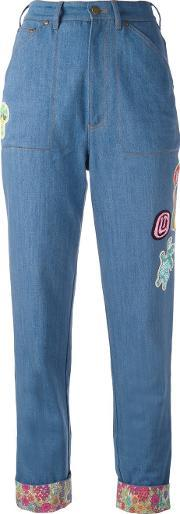 Olympia Le Tan Floral Turn Up Beaded Jeans Women Cotton 36, Women's, Blue
