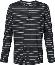Miles Striped Henley T Shirt Men Linenflaxpolyester S, Grey