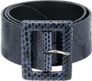 Orciani Square Buckle Belt Women Python Skin 90, Blue