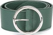 Wide Round Buckle Belt Women Leather 75, Women's, Green